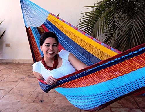 Sunnydaze Portable Hand-Woven 1 Person Mayan Hammock, Single Size, Multi-Color, 330 Pound Capacity