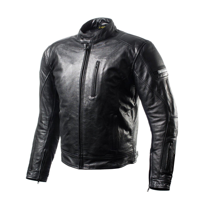 SHIMA HUNTER, Back Protector Summer Vintage Retro Mens Leather Motorcycle Jacket, Black (S-XXL) (M, BLACK)