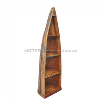 Rustic Reclaimed Old Wood Vintage Boat Bookcase With Three Book Shelf Indian Manufacturer And