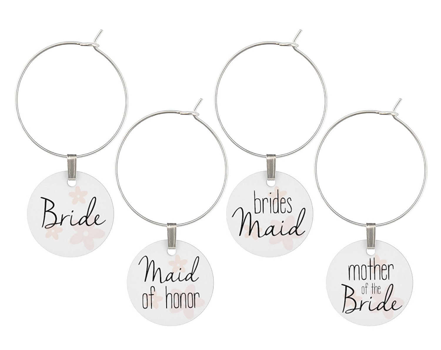 Get Quotations Wine Gl Charms For Wedding Bridal Party Set Of Rings Tags Shower Favors