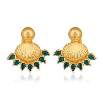5cdca4745 925 Silver Gold Plated Traditional Earring Designer Green Kundan Stud  Earrings Manufacturer