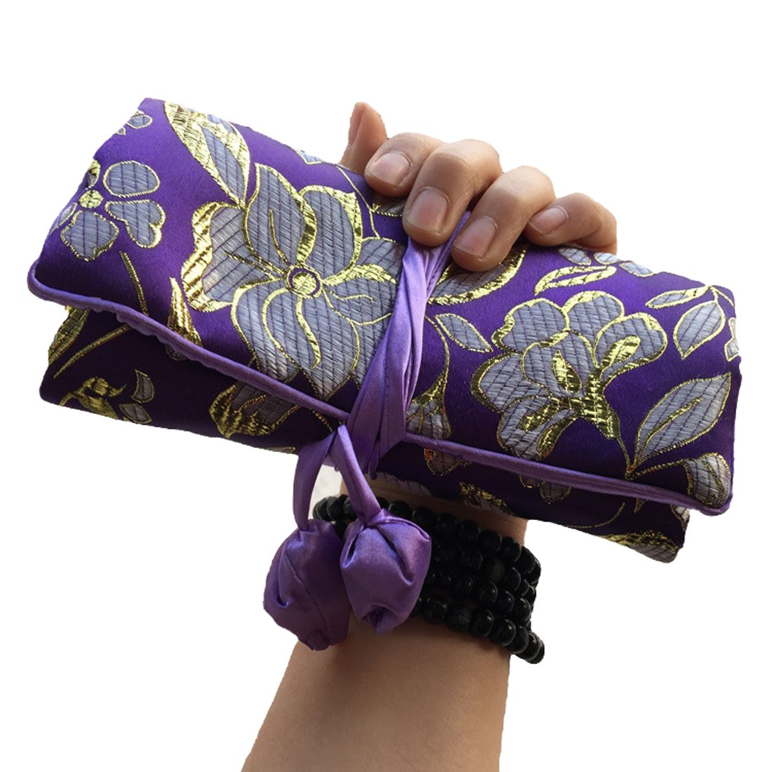 WEI LONG@Jewelry Roll, Travel Jewelry Roll Bag,Silk Embroidery Brocade Jewelry Organizer Case with Tie Close, (Golden Flower, Purple)