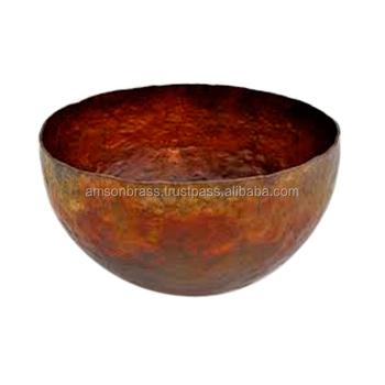 Hammered Copper Antique Fruit Bowl