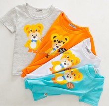 Printed cute animal cartoon 100% cotton summer children t shirt,Custom child carton printed t shirt 100% cotton kids t-shirt