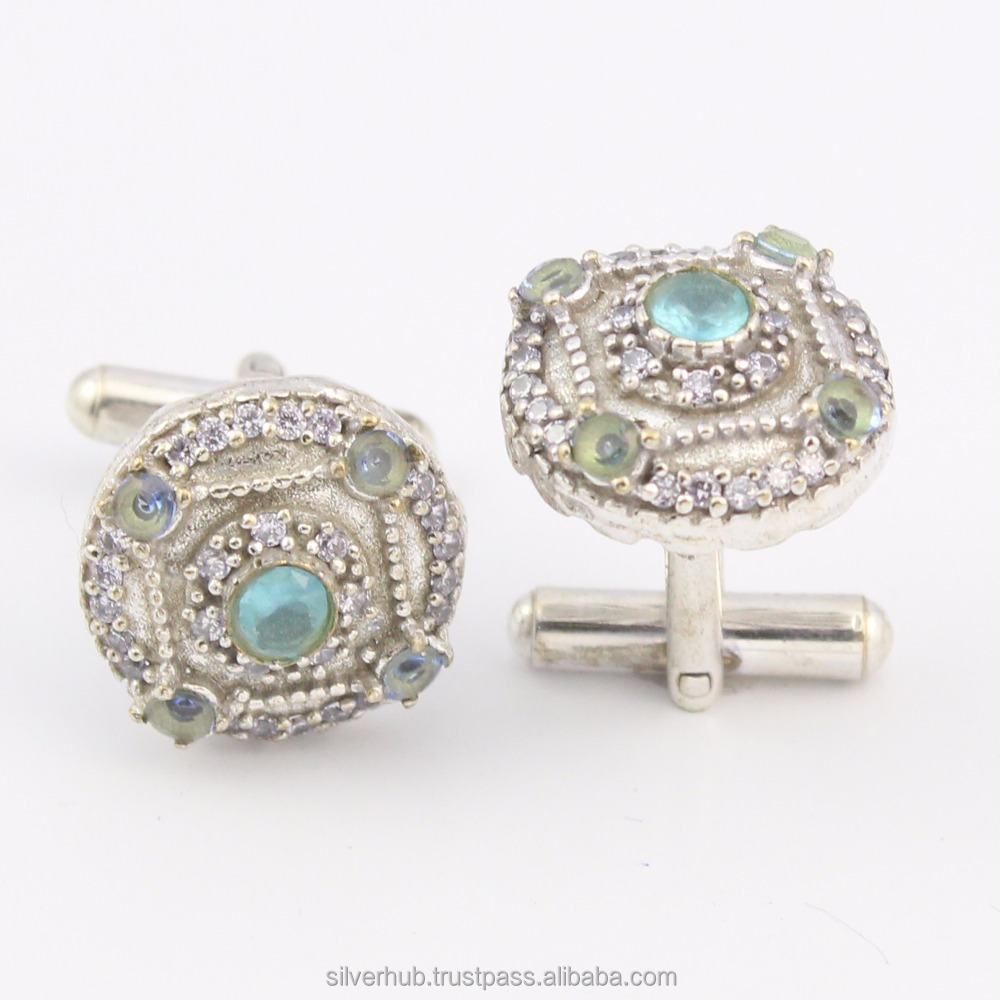 Unique 925 Sterling Silver Blue Topaz Handmade Designer Customizable Cuff Links Wholesale