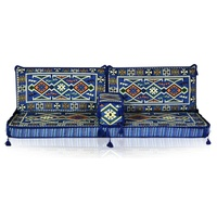 Hookah Bar Nomad Yoruk Oriental Corner Arabic Seating Floor Cushion Cover Set Blue
