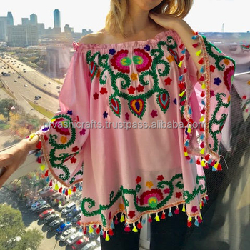 100% Cotton Top Bohemian Wibe Spring Pink Mexican Style Aari Wool  Multicolor Embroidery Plus Size Smoke Blouse/top - Buy Indian Embroidery  Cotton ...