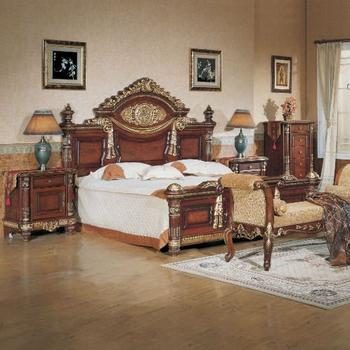 Indian Carved Wood Bedset Furniture Antique Dark Wood Bedroom