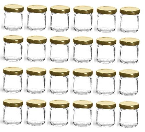 Nakpunar 24 pcs, 1.5 oz Mini Glass Jars with Gold Lid for Jam, Honey, Wedding Favors, Shower Favors
