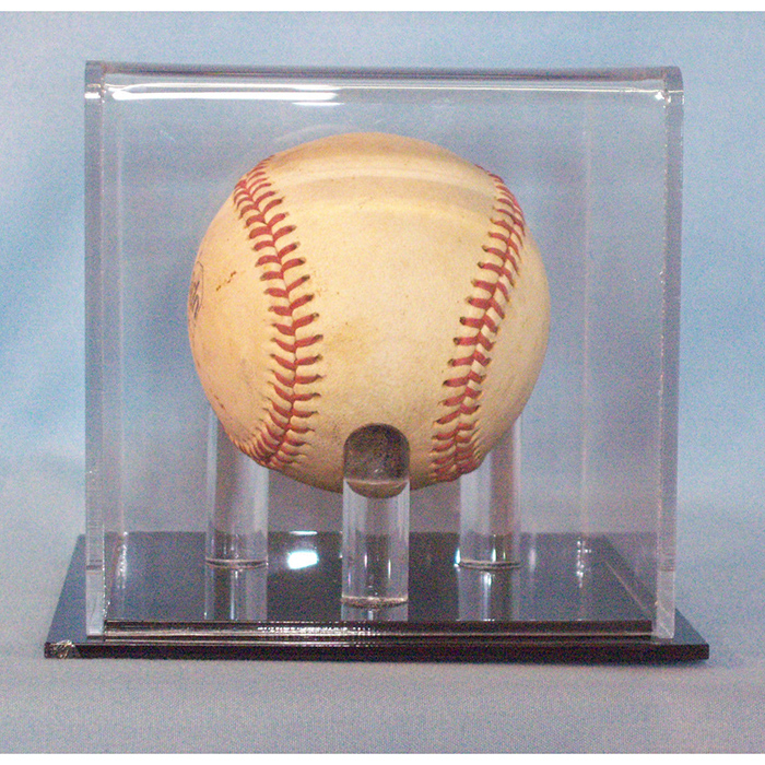 Baseball 1-Ball Deluxe Acrylic Gold Glove Display Case//Mirror back//Gold risers