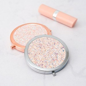 Best Makeup Tools custom logo pretty rose gold glitter compact mirror