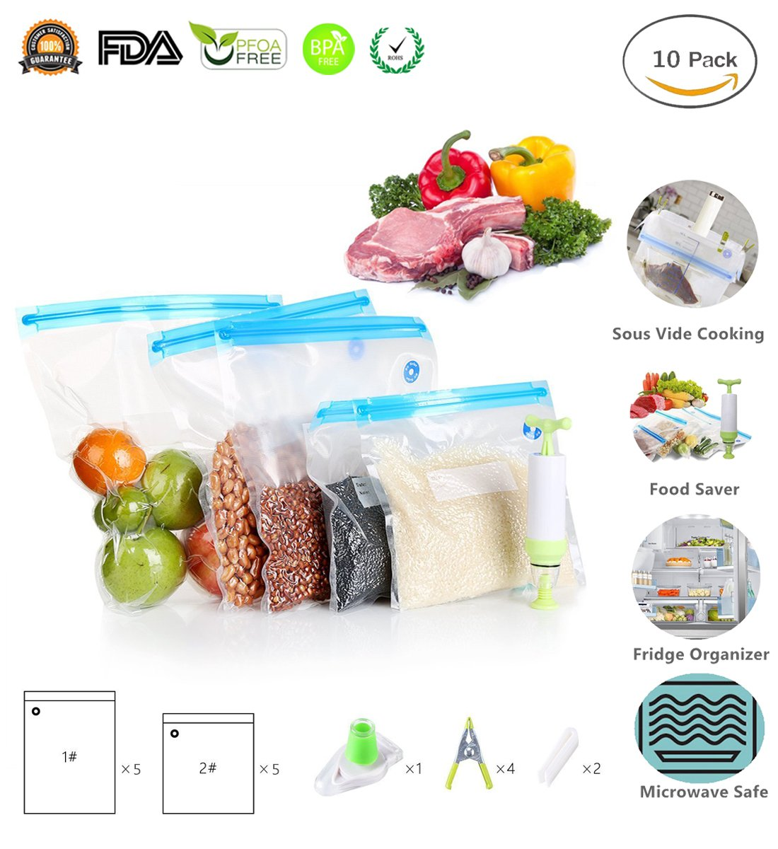 Sous Vide Bags Essentials Kit for Joule Sous Vide and Anova Precision Cooker, Reusable Food Storage Freezer and Water Cooking Bags, 10 Vacuum Bags, 1 Hand Pump, 2 Sealing Clips and 4 Sous-Vide Clips