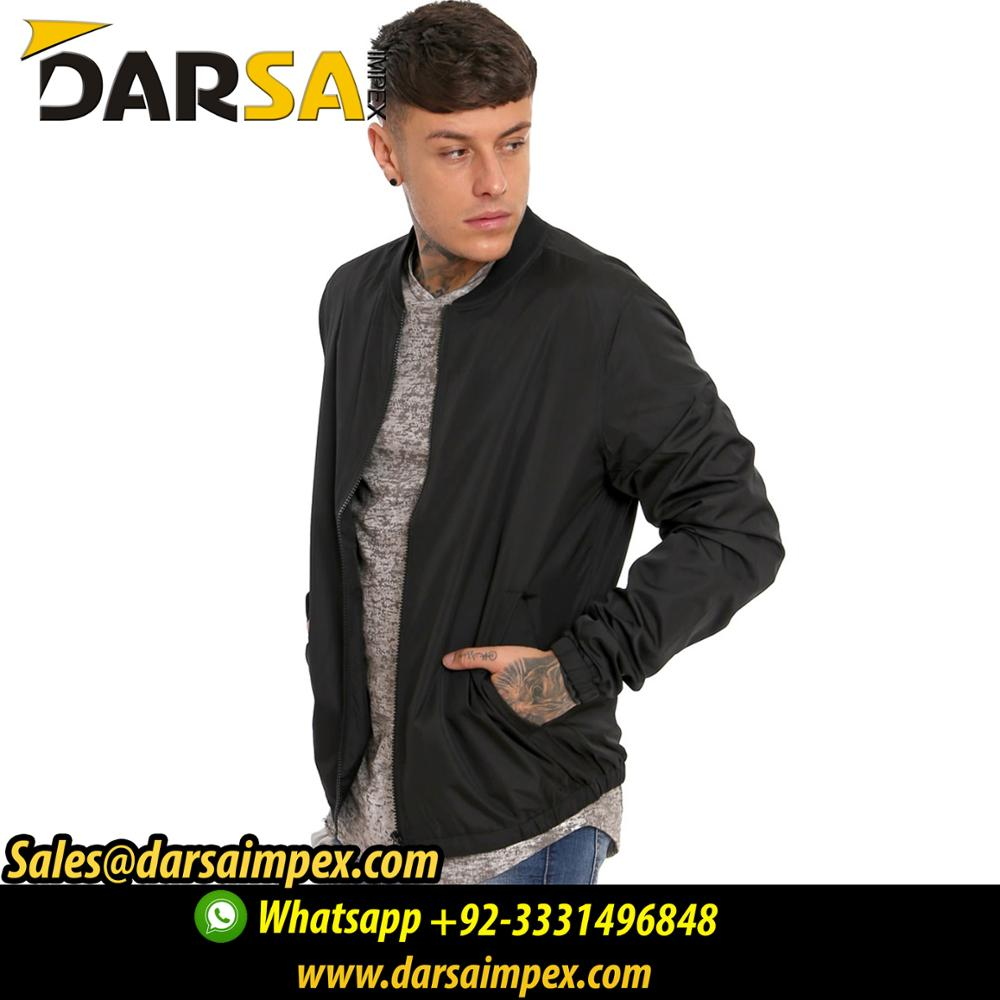 Wholesale Manufacturer Jacket Slim Fit Mens Black Bomber Jacket