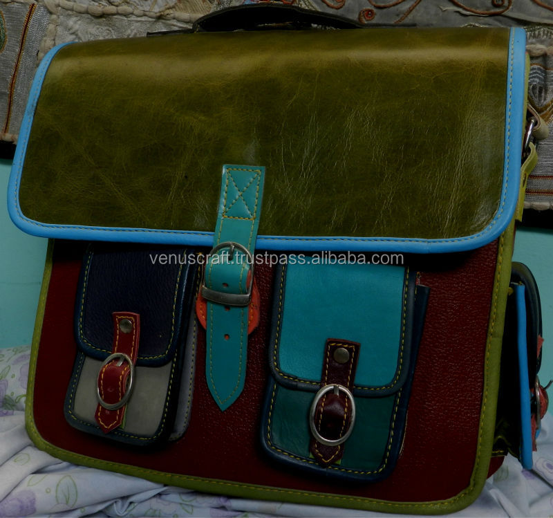 Real Leather colorful Multi patch work style pure leather messenger school bags