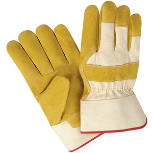 Split cowhide rubberized short cuff classic leather work gloves