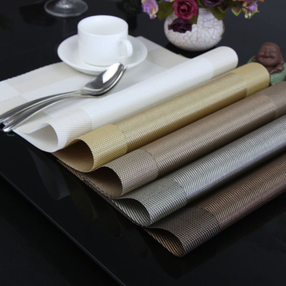 European-style Eco-friendly Mats Heat-resistant Mat Waterproof Anti-fouling PVC Placemat Gift Box Non-slip Mats Gold Brown Silver Gray Purple Insulation Pad Set of Four Colors CD05