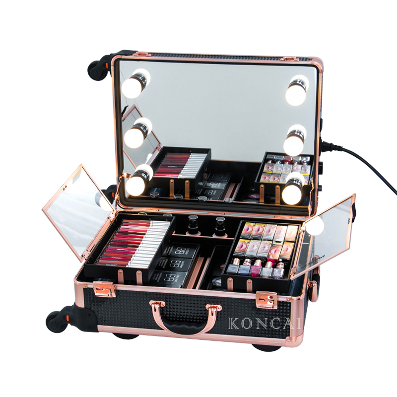 Most Popular Rose Color Makeup Train Case Beauty Case With Lights