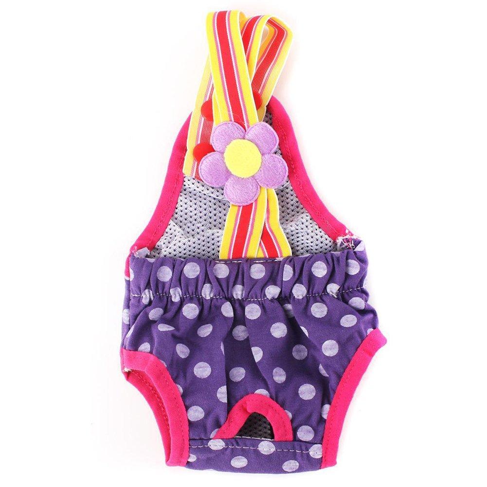 SODIAL(R) XL Female Pet Dog Pant Bitch Season Menstrual Sanitary Nappy Diaper purple