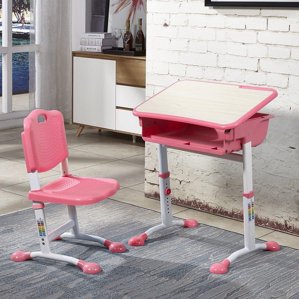 LightbyBox Fashionable Children Desk and Chair Set, Height Adjustable Student Desk School Desk , Kids Computer Desk and Chair Set, Kids Study Table (Pink)