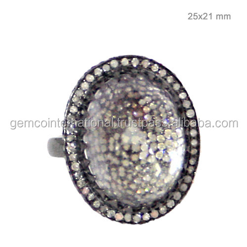 Gold & Silver Studded Pave Diamond Crystal Fashion Ring