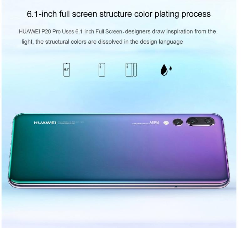 Original Huawei P20 Pro 6 1 Inch Kirin 970 Octa Core Ip67 Smartphone 6gb  Ram 40 0mp Android 8 1 Face Id Supercharge Nfc - Buy High Quality Original