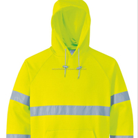 100% polyester hi vis reflective safety sweatshirt no zipper hoodie jacket