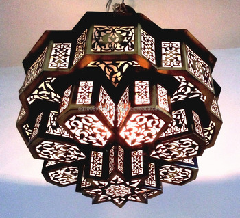 B209 Three Tiers Brass Moroccan Flush Ceiling Fixture / Pendant Star ...