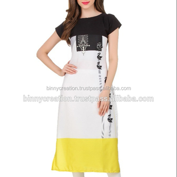 Ladies Designer Beautiful American Crepe Kurti - Buy Latest Kurti  Designs,Machine Embroidery Designs Kurtis,New Style Design Ladies Kurtis  Product on