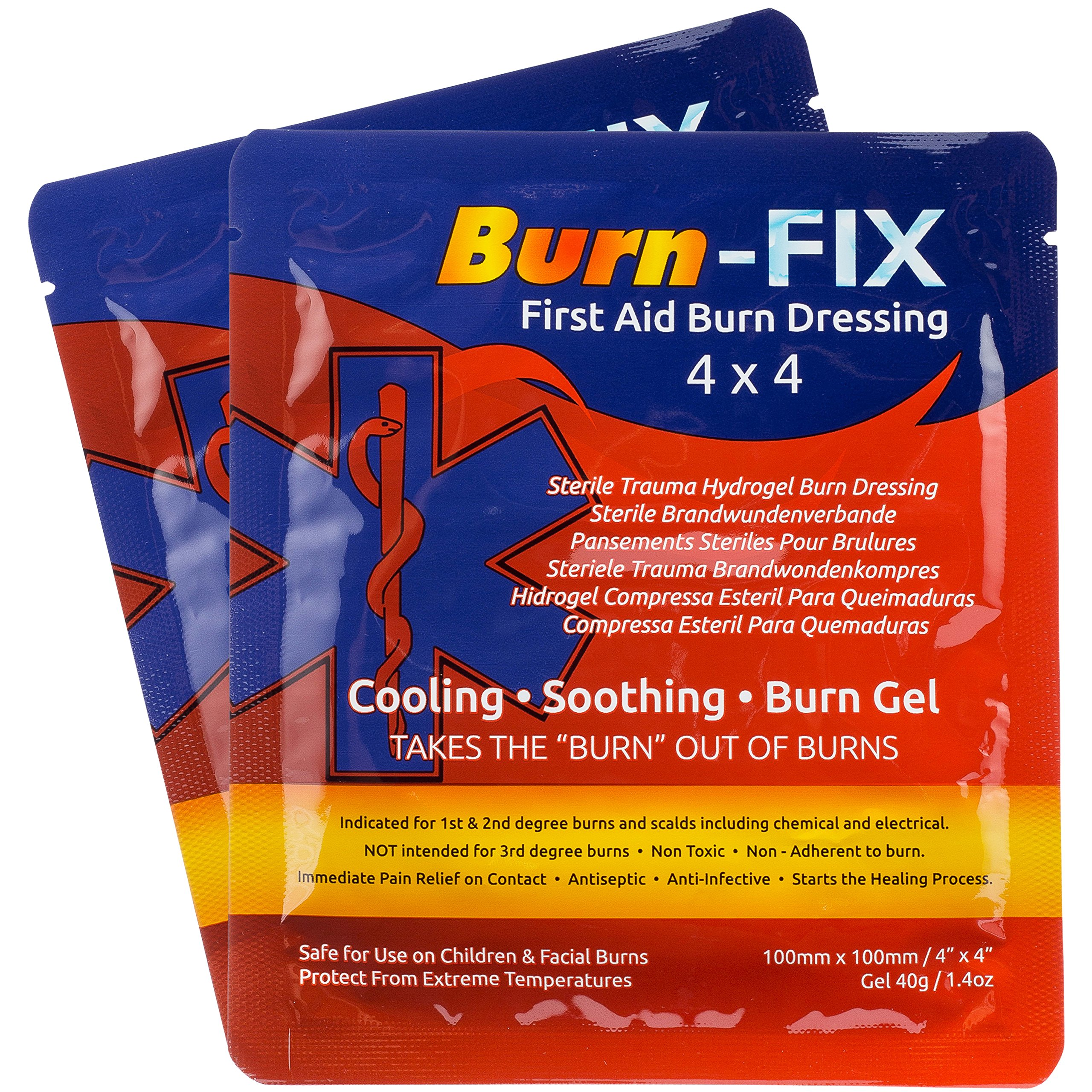 Burn-FIX- 8 Pack-Burn Care Treatment & First Aid Hydrogel Dressing. Immediate Pain Relief Gel/Cream For First & Second Degree Burns, Chemical, Electrical, Grease, Razor and Sunburns. 4 X 4 in.
