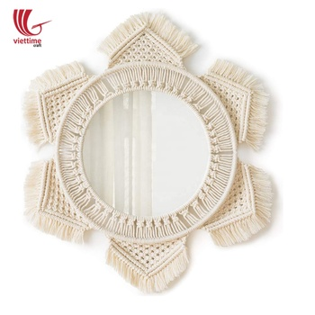 Vintage style wall mirror in macrame, macrame wall decor boho