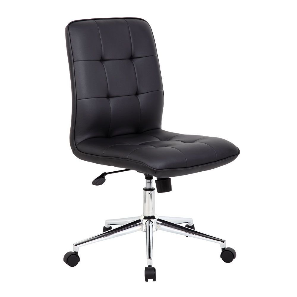 "Brianna Modern Armless Task Chair Black Vinyl/Chrome Frame Dimensions: 27""W x 27""D x 35.5-38.5""H Seat Dimensions: 19.5""Wx18""Dx18-21""H Back Dimensions: 18""Wx19.5""H Weight: 29 lbs"
