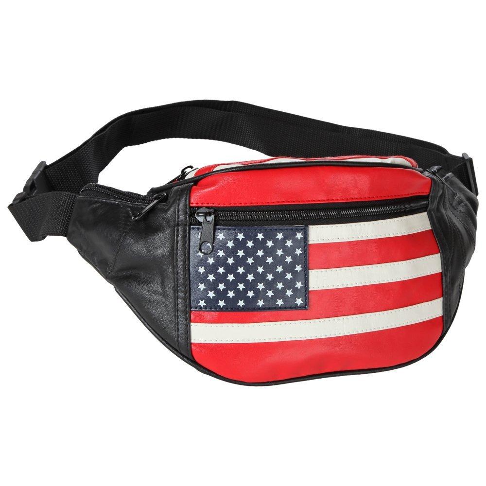 Home-X Unisex American Flag Waist Bag, Stars and Stripes USA Flag Fanny Pack