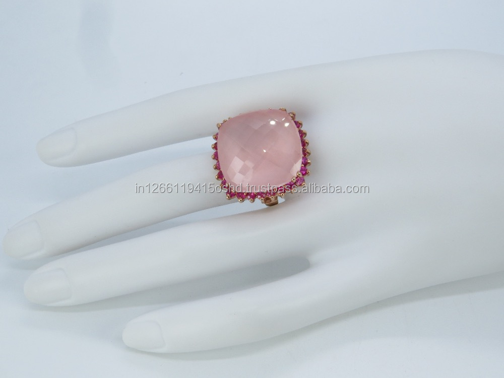 Offers 2017 gemstone jewelry rose quartz ring with ruby indian silver jewelry manufacturers 925 sterling silver jewelry ring