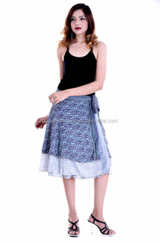 Indian Handmade rapron Design skirts party dress for women Knee Length Wrap  Skirts Summer Fashion Beach 60cfefbc1