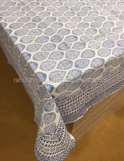 Table cover Hand block printed twin size Bed sheet Table cloth