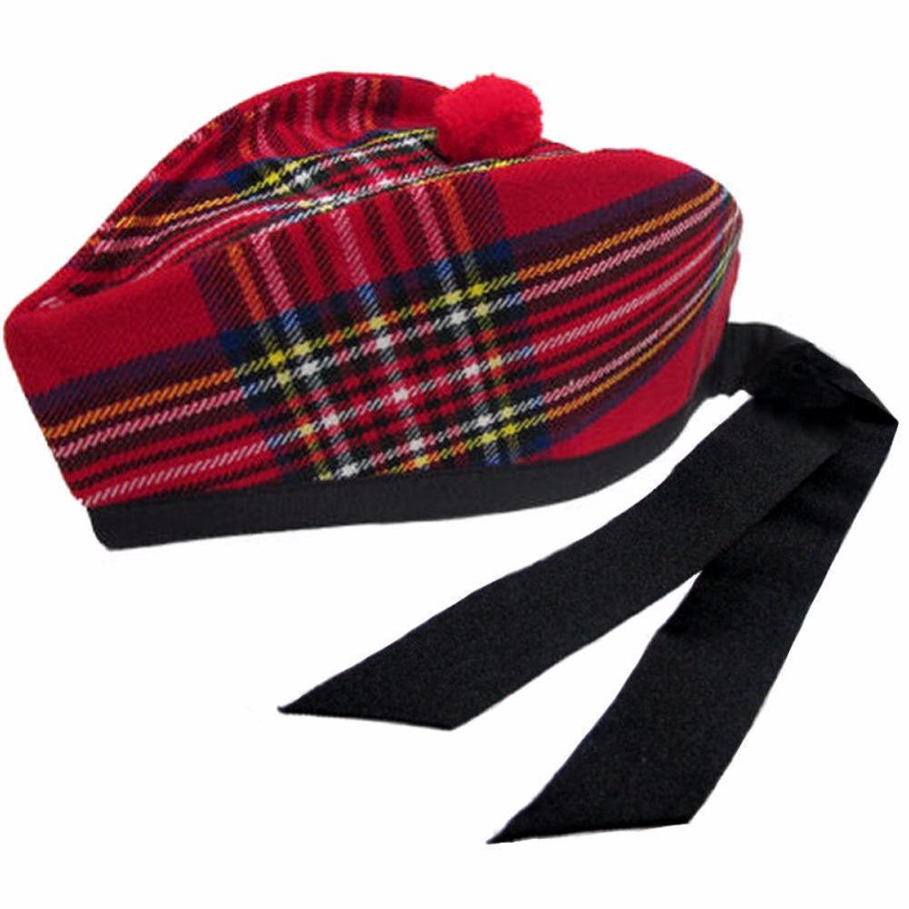 Red Scottish Highland Tartan Glengarry Cap Hat - Buy Scottish ...