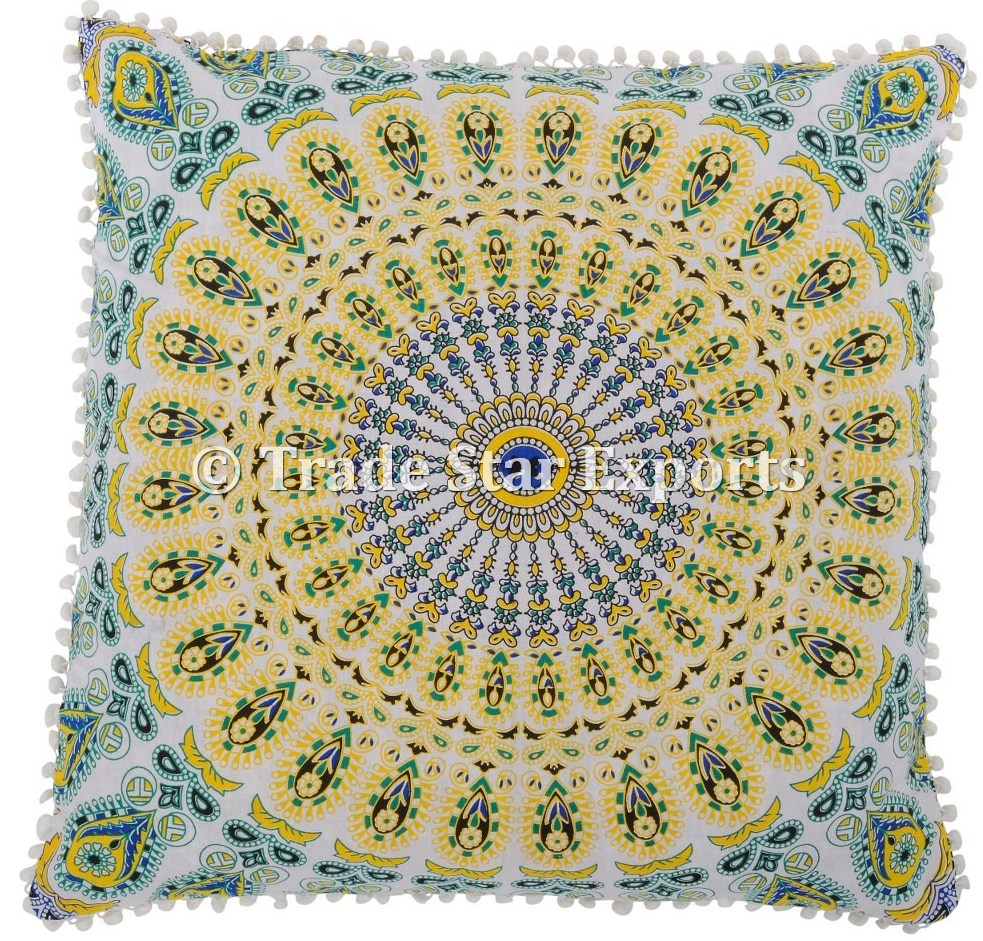 Mandala tapestry fabric meditation floor pillow case 26x26 Indian cushion covers