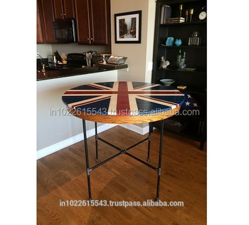 Vintage Union Jack Round Cafe Table Modern Mango Wood Dining Antique