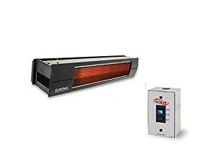 QBC Bundled Sunpak Two Stage Hardwired S34-B-TSH-LP-12020-2-BLACK (25,000 BTU and 34,000 BTU) Hanging Patio Heater Black Propane Gas (LP) - Black Front Fascia Kit - Plus Infrared Heating QBC eGuide