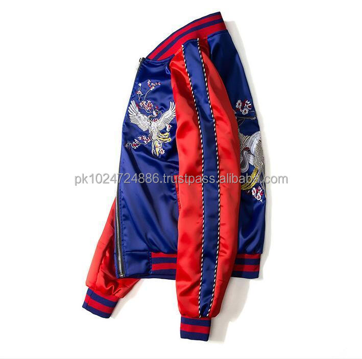 Custom Embroidery Satin Souvenir varsity jacket
