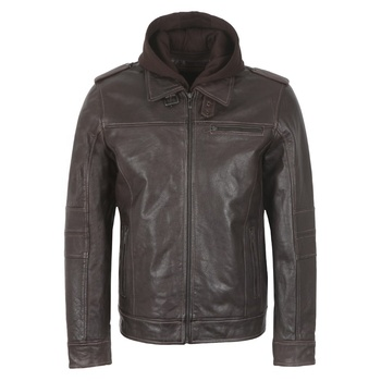 Stylish wear brown color detachable hoodie style men's outwear fashionable quality zipper leather casual jackets new sale