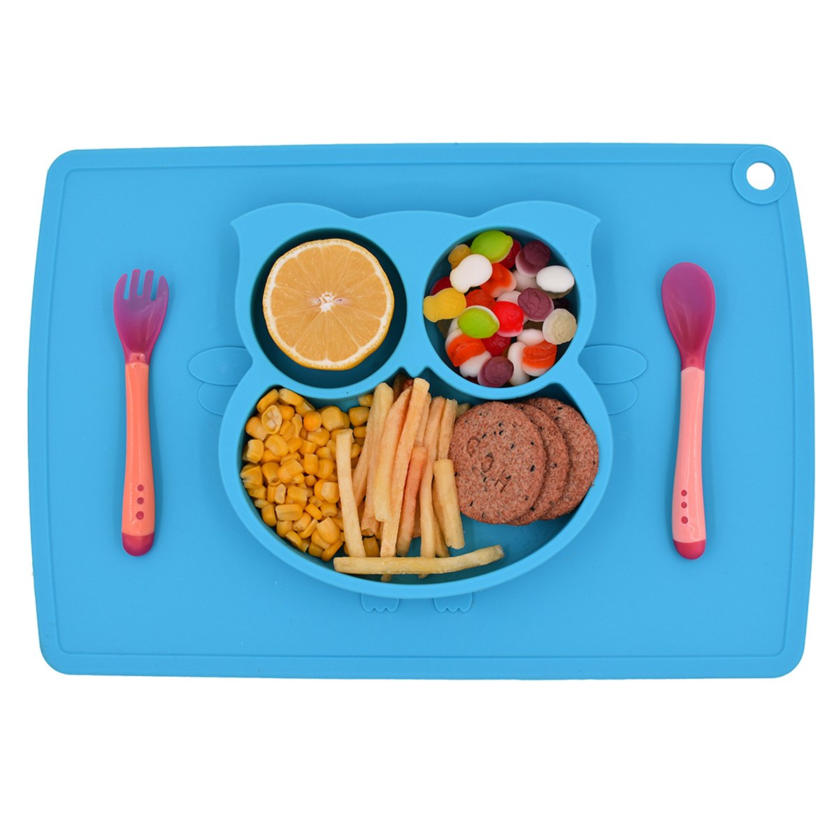 Silicone Baby Placemat, One-Piece Suction Child Feeding Mat with Spoon and Fork included, Baby Table Place Mat for Toddlers,Infants and Kids (Blue)