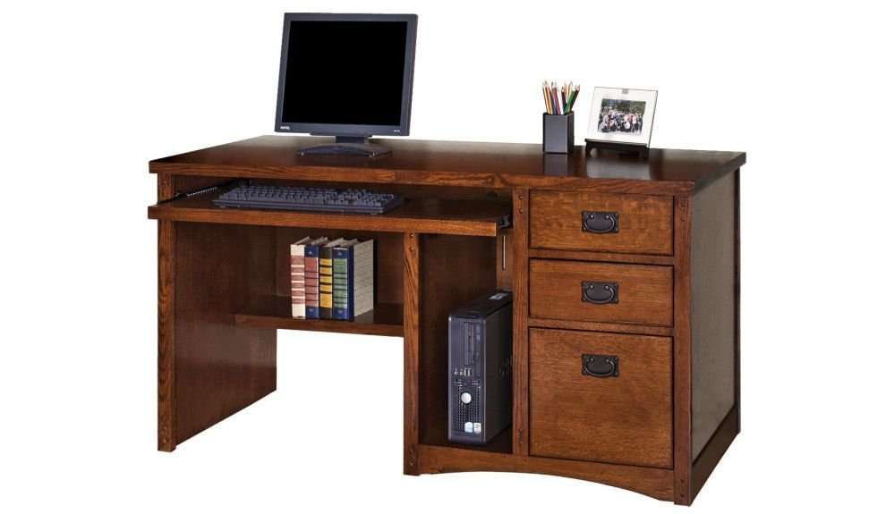 "Mission Pasadena Computer Desk - 55.5""W Mission Oak Finish Dimensions: 55.5""W x 24.5""D x 29""H Weight: 205 lbs"
