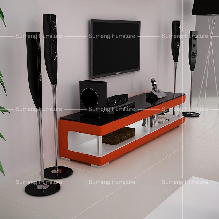High End New Model Glass Pvc Modern Floor Tv Stands Design