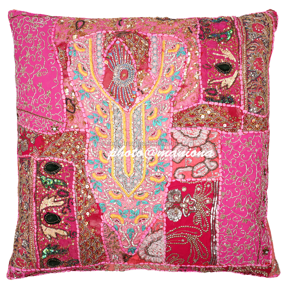 Hot Pink Indian patchwork cushion covers,Decorative Pillow, bohemian Patchwork Cushion Cover 26 Inch