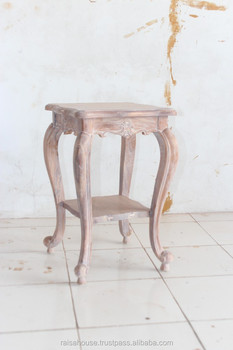 Reclaimed Teak Furniture - French Lamp Table w/ Carving Indonesia Furniture