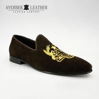 f97189c447c Velvet Embroidered Mens Brown Suede Crown Smoking Slippers Slip-on Loafers  Shoes