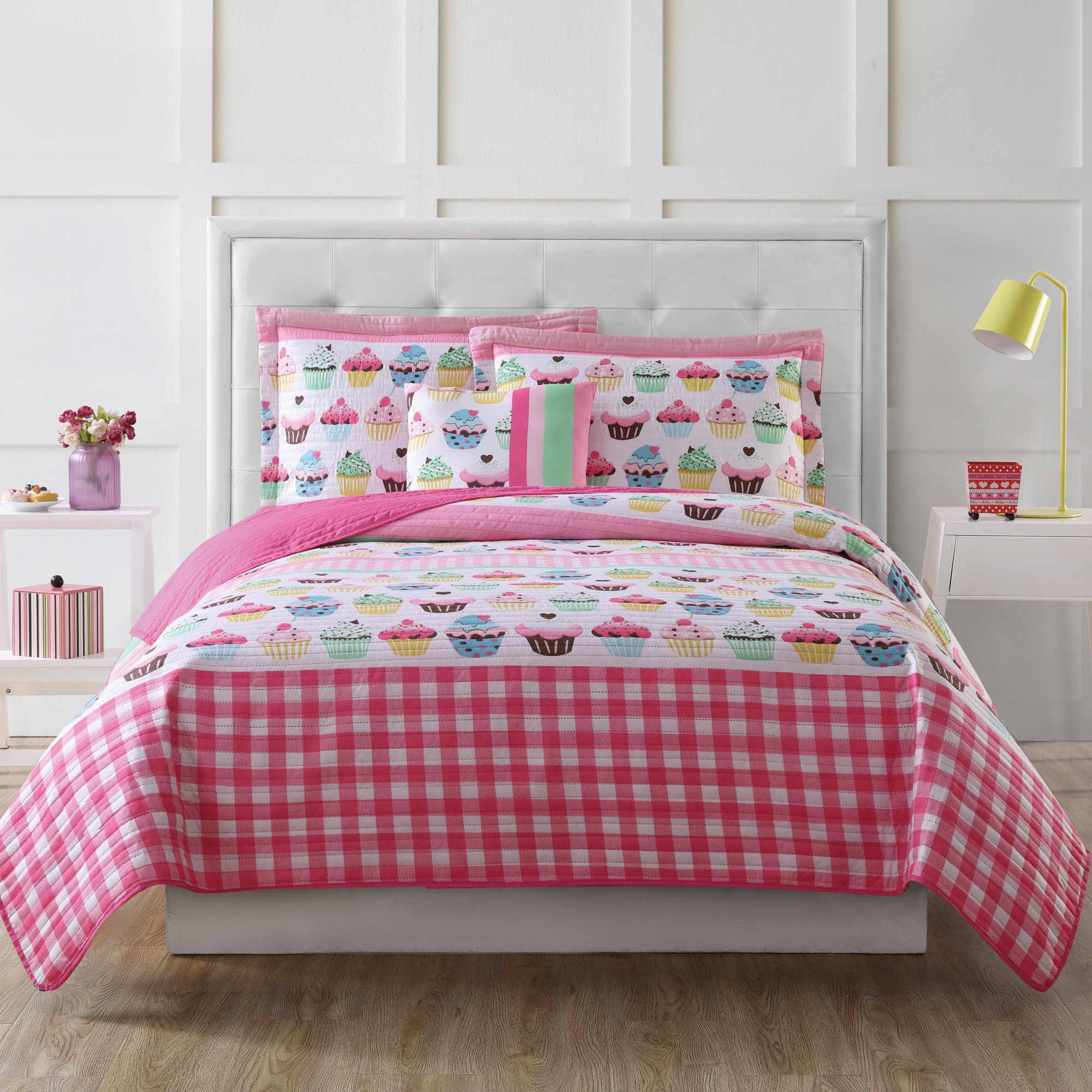 3 Piece Girl Pink White Gingham Cupcake Theme Quilt Twin Set, Girly Multi Cup Cake Desert Bedding, Cute All Over Plaid Themed Pattern, Blue Green Yellow, Microfiber