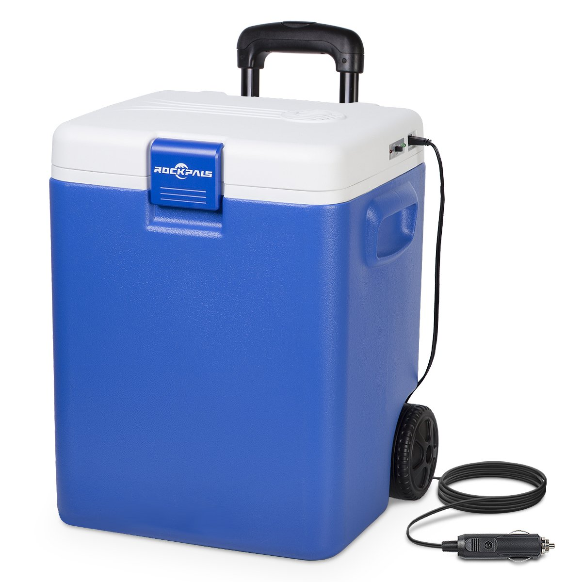 Rockpals 30 Quart Electric Cooler/Warmer On Wheels and Handle, Portable Thermoelectric Plug In Cooler Chiller with DC 12V Plug for Truck, Car, RV, Home, Office, Travel, Camping, Beach (BLUE)