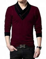 95% cotton and 5% spandex t shirt with velvet collar